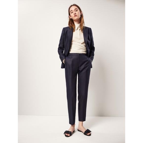Massimo Dutti Pants - Massimo Dutti Slim Fit 100% Linen Blue Trousers 4